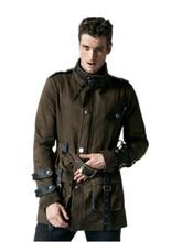 Punk new products personalized pocket patchwork belt coat outerwear jackets foe men