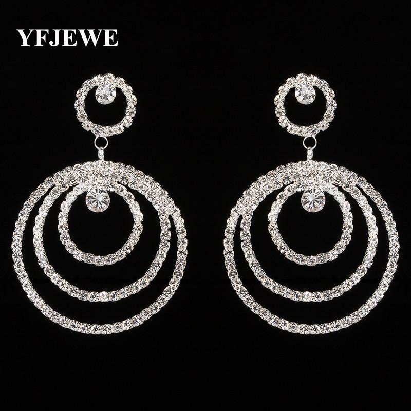 YFJEWE Top Selling Women Drop Earrings Elegant Three-circle Stacked Women Crystal Jewelry Fashion Dangle Earrings Femme E300