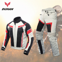 DUHAN Men Women Motorcycle Jacket Summer Pants Breathable Racing Jacket Lovers Suits Motorcycle Riding Pants Clothing Set