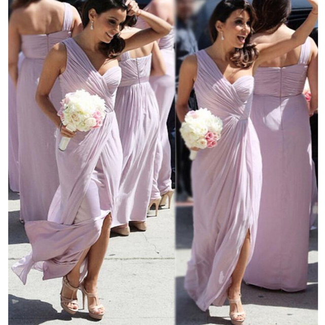 Lavender One Shoulder Floor Length Chiffon Flowing Bridesmaid Dresses Under 100 Long Straight Formal