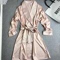 Элегантный Розовый женская Новый Стиль Атласные Халаты Халат Пижамы С Поясом Халаты С Длинным Рукавом Пижамы Sexy Ночная Рубашка Ночь Платье