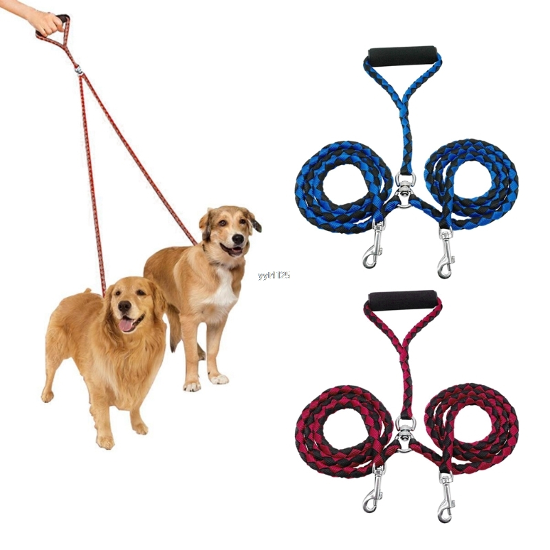 Pet Collar Belt Double Dog Leash Braided Tangle Dual Leash Coupler Training Two Dogs Apr