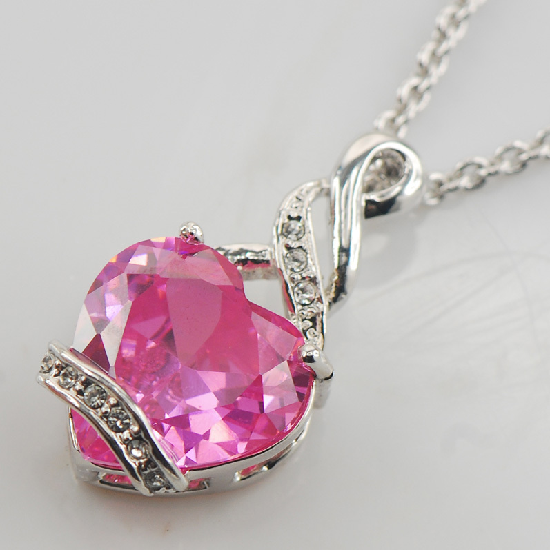 c916fb660adb Rose Cristal Zircon 925 En Argent Sterling De Mode Bijoux Pendentif TE489