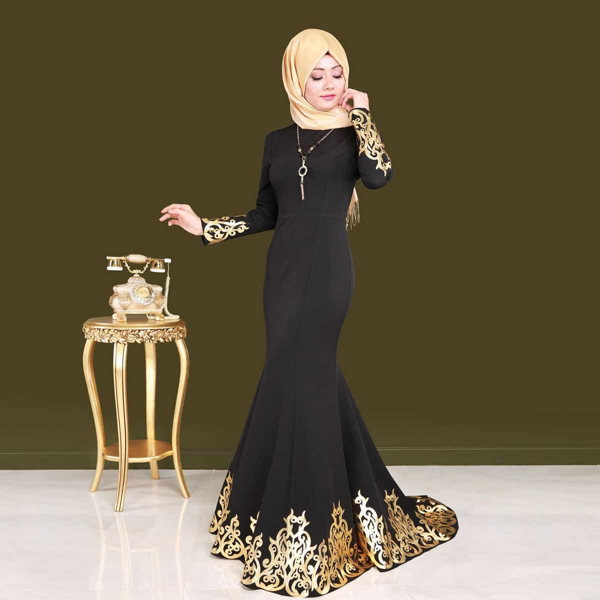 Palace Style Bronzing Muslim Robes long-sleeved Waist Fishtail Dress Round Neck Long Dress Fashion Vintage Casual Dresses