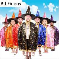 Boy Girl Kids Children Christmas Halloween Witch Wizard Cloak Gown Robe And Hat Cap Stars 7