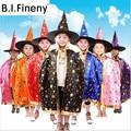 Boy Girl Kids Children Christmas Halloween Witch Wizard Cloak Gown Robe and Hat Cap Enchanter Stars 8 Fancy