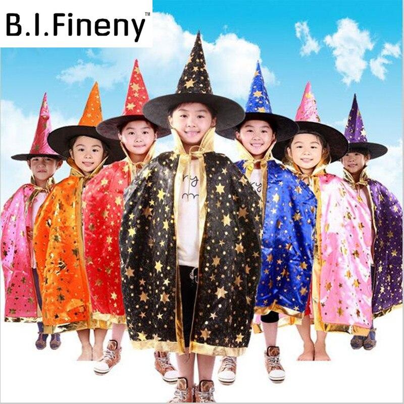 Boy Girl Kids Children Witch Wizard Cloak Cosplay Costume  Day New Year Halloween  Gown Robe Enchanter Stars 8 Fancy