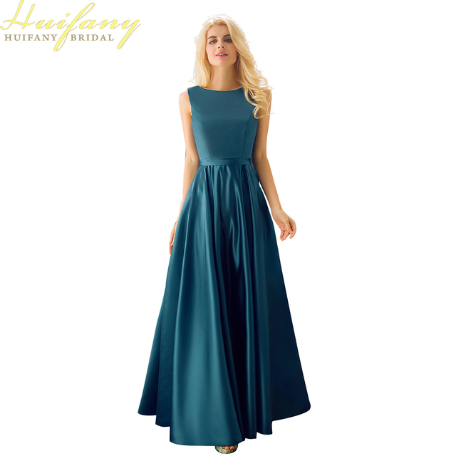 Cheap Simple Satin Long Wedding Guest Dresses Boat Neck Floor Length 2017 Bridesmaid Navy Blue