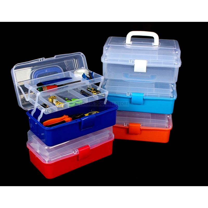 Multifunctional Tool Case Portable 3 Layers Plastic Fishing Tool Storage Case Household Hardware Toolbox High Quality