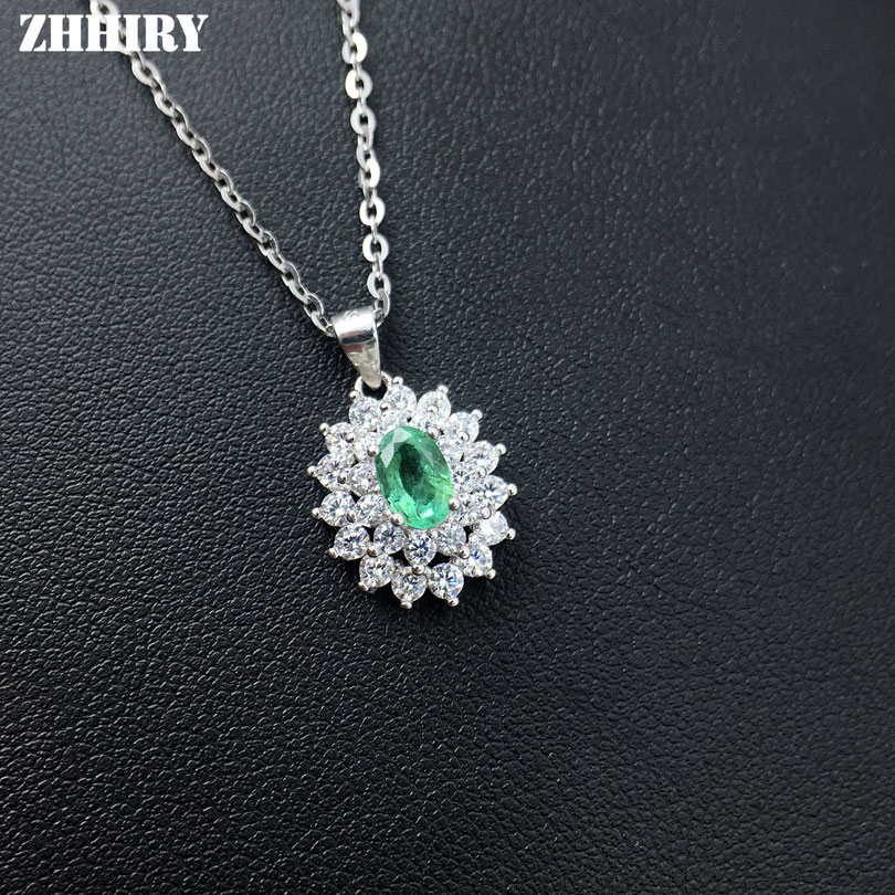 ZHHIRY Natural Emerald Necklace Genuine 925 Sterling Silver Precious Gem Natural Gemstone Pendant Fine Jewelry Dirthstone