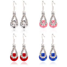 Big Crystal Pendant Fashion Long Paragraph Brilliant Drop Earrings10.29(China)