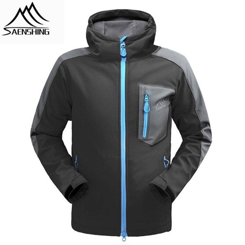 SAENSHING mens softshell jacket  thermal fleece waterproof jacket men outdoor hiking jacket breathable windproof windbreaker cube softshell jacket blackline