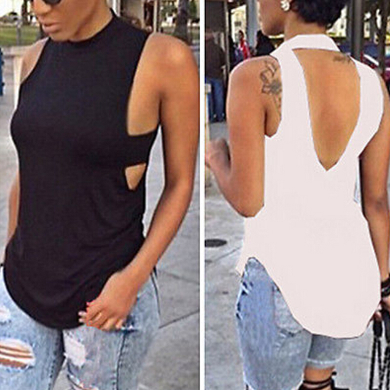 New Summer Female Top Woman T-shirt Top Irregular Sexy Backless Vest T-Shirt Sleeveless Vest Clothes for Womem(China)