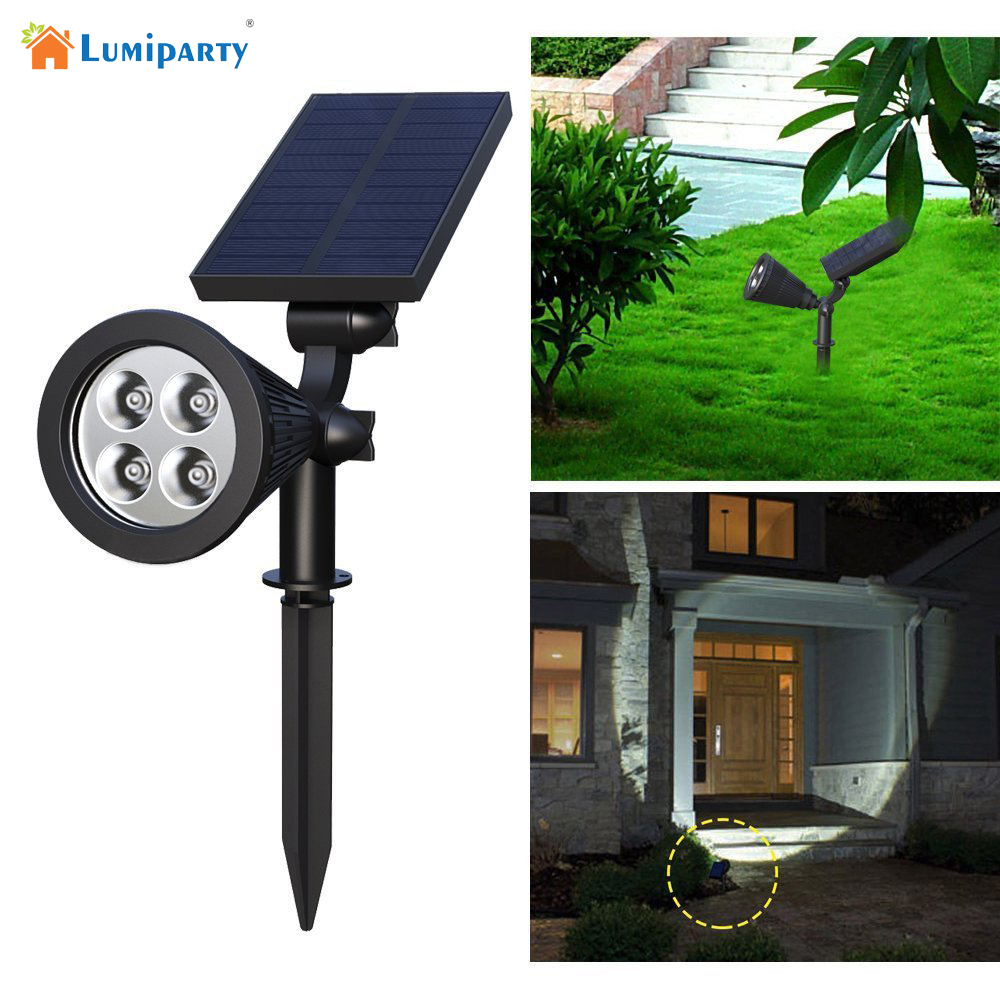 Lumiparty solar spotlights 4 led solar landscape lights adjustable lumiparty solar spotlights 4 led solar landscape lights adjustable waterproof outdoor security lighting 2 in 1 wall lights aloadofball Images