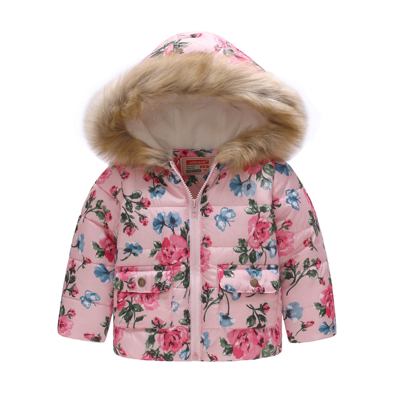 f6381320c Baby Girls Coat with Fur Hooded 2018 Kids Winter Coats for Girls ...