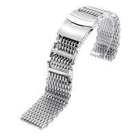高品質スライバー黒男性女性20/22/24ミリメートル腕時計バンドストラップステンレス鋼クールサメメッシュ腕時計交