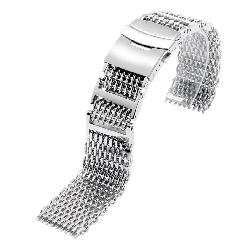 High Quality Sliver Black Men Women 20/ 22 /24mm Watch Band Strap Stainless Steel Cool Shark Mesh Wristwatch Replacement