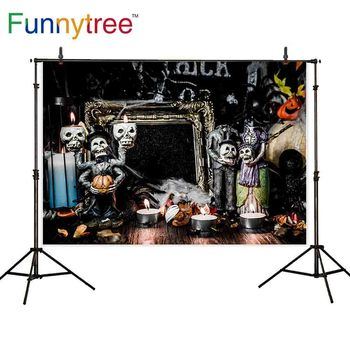 Funnytree photography Halloween theme background apparition churchyard devil skull decoration wood floor new backdrop photophone image