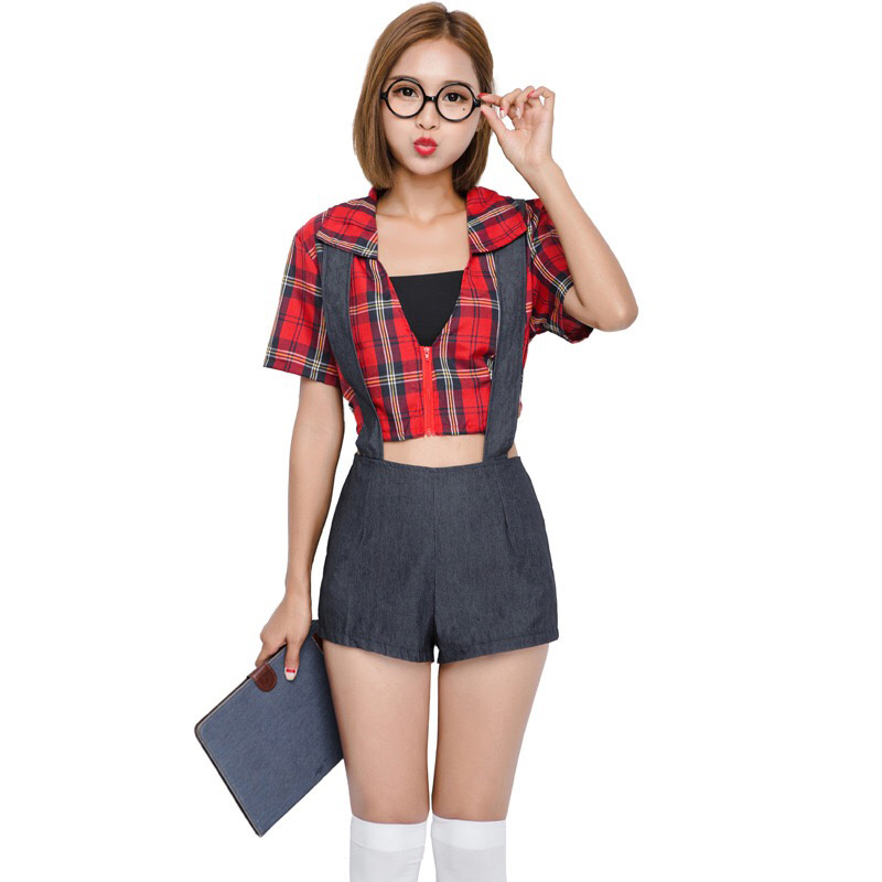 Adult Women Sexy School Student Girls Costume Fancy Outfit Porn Romper Overwall Shorts Red Plaid Shirt Crop Tops For Teen Girls