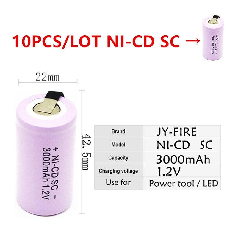10 pièces batterie de haute qualité batterie rechargeable sous batterie SC batterie 1.2 v avec onglet 3000 mah pour outils électriques