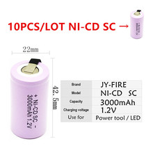 10pcs High quality battery rechargeable sub  SC 1.2 v with tab 3000 mah for electrical tools