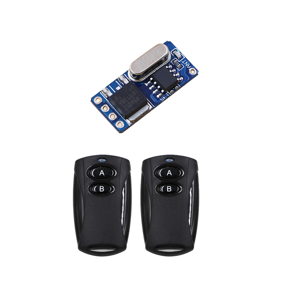 Black Color 2Button DC3.6V-DC12V Mini Remote Control Switch System Receiver +2pcs Transmitter Learning Code Smart Home315MHZ