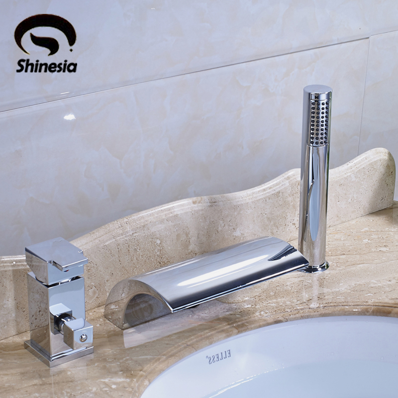 Chrome Finish 3 pcs Waterfall Bathtub Faucet w/Diverter & Handheld Shower Mixer Tap 5pcs chrome finish waterfall led bathtub faucet mixer tap w handheld shower