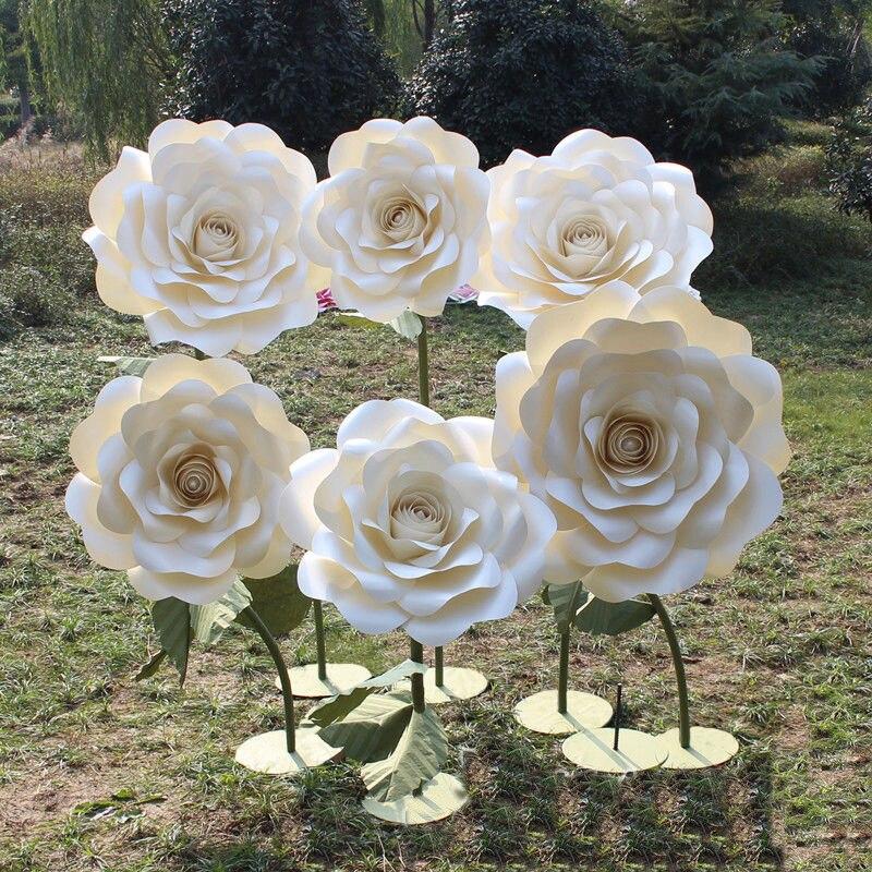 Grandes décorations de mariage romantiques fleurs professionnel photographie arrière-plan décorations de fête Rose papier fleurs