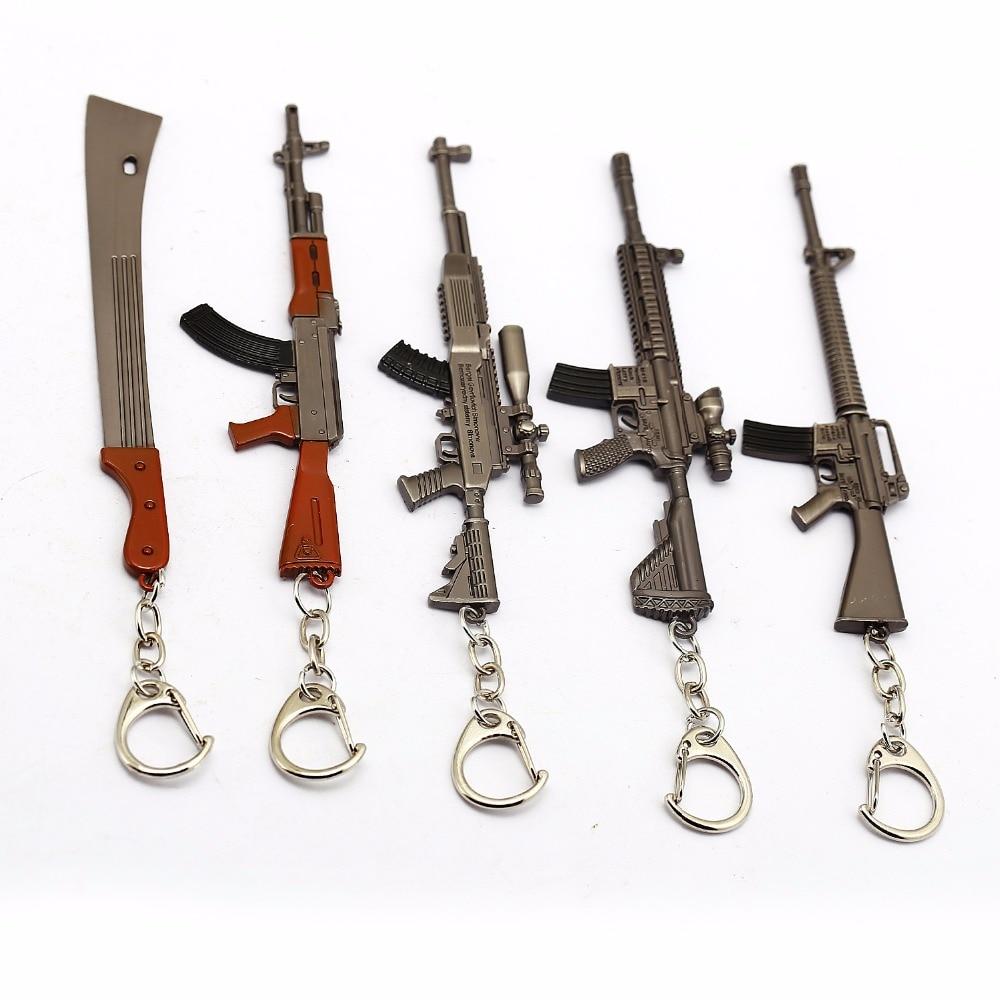 12cm Gun Model Battlegrounds Key Chain Game CF eat Chicken Jedi Survival Metal Weapon Gun Keychain 3D Kids Toy