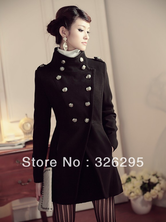 Womens Military Style Pea Coat - Coat Nj