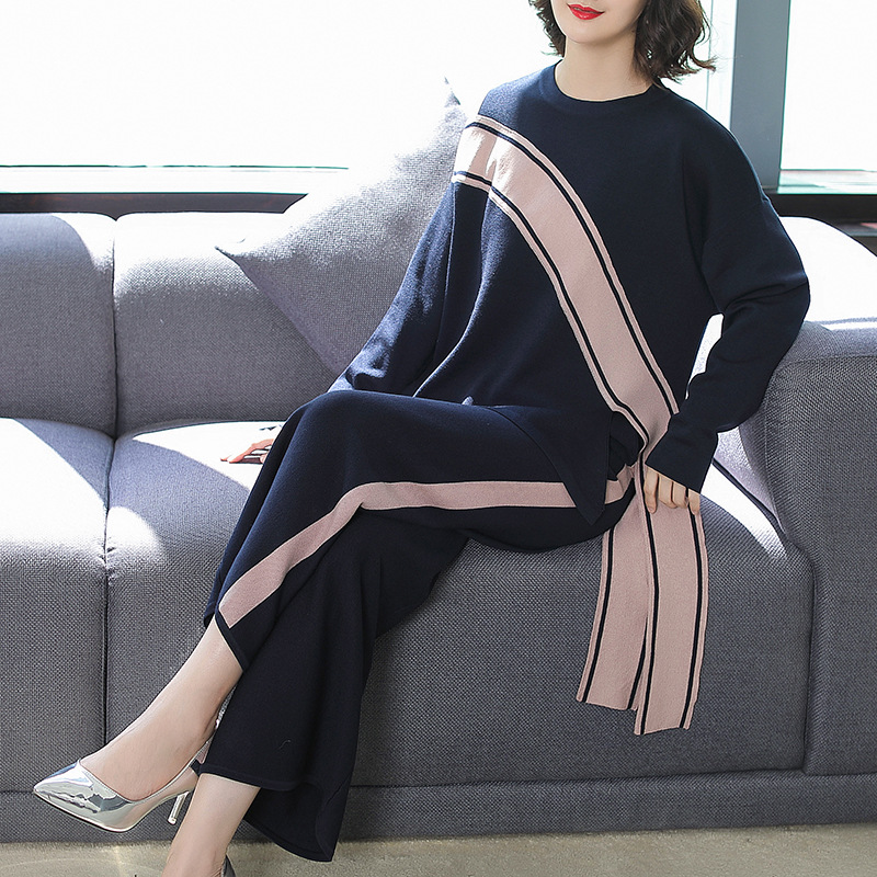 Elastic Knit Loose Pullover Sweater And Wide Leg Long Pants 2 Piece Pants Suits 2018 New Women Autumn Casual Suits