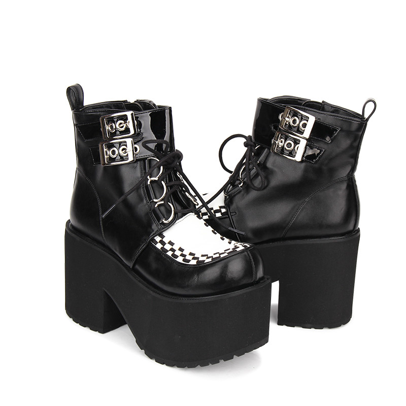 цена на Princess sweet punk shoes The spring and Autumn Gothic Lolita LACE BOOTS round thick high-heeled boots punk bottom Muffin pu9710