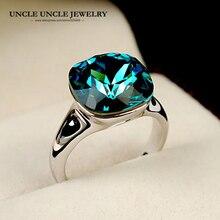 Кольцо с голубым кристаллом белого золота высшего качества роскошное квадратное циркониевое женское кольцо на палец рождественские подарки оптом