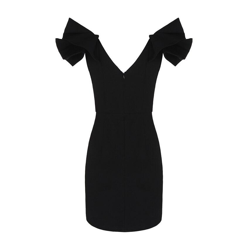 Partito Di Hot Estate Chic Increspature V Corta Aderente A Delle Manica Collo Arrivo Nero 2019 Elegante Vestito Nuovo Del Da Il Donne Abiti Sexy thsQdr