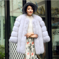 S-4XL High Quality Winter Warm Faux Fox Fur Coat Luxury Long Pink Red Blue Faux Fur Jacket Women manteau fourrure femme