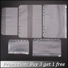 Прозрачный держатель для карт из ПВХ для персонального блокнота A5 A7, Обложка, кольца, блокнот с 6 отверстиями, сумка на молнии, дневник, планш...