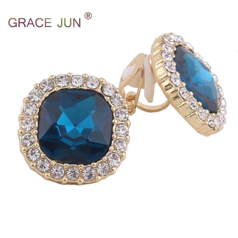 GRACE JUN Red and Blue  Rhinestone Crystal Clip on Earrings No Pierced for Women Party Wedding Luxury Bride No Hole Earrings