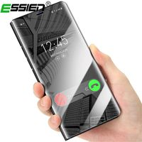 Essien Mirror Case For Samsung Galaxy S8 Plus Note 8 Flip Leather Smart Clear View Stand Cover S9 Plus , Phone Chip Coque for S9