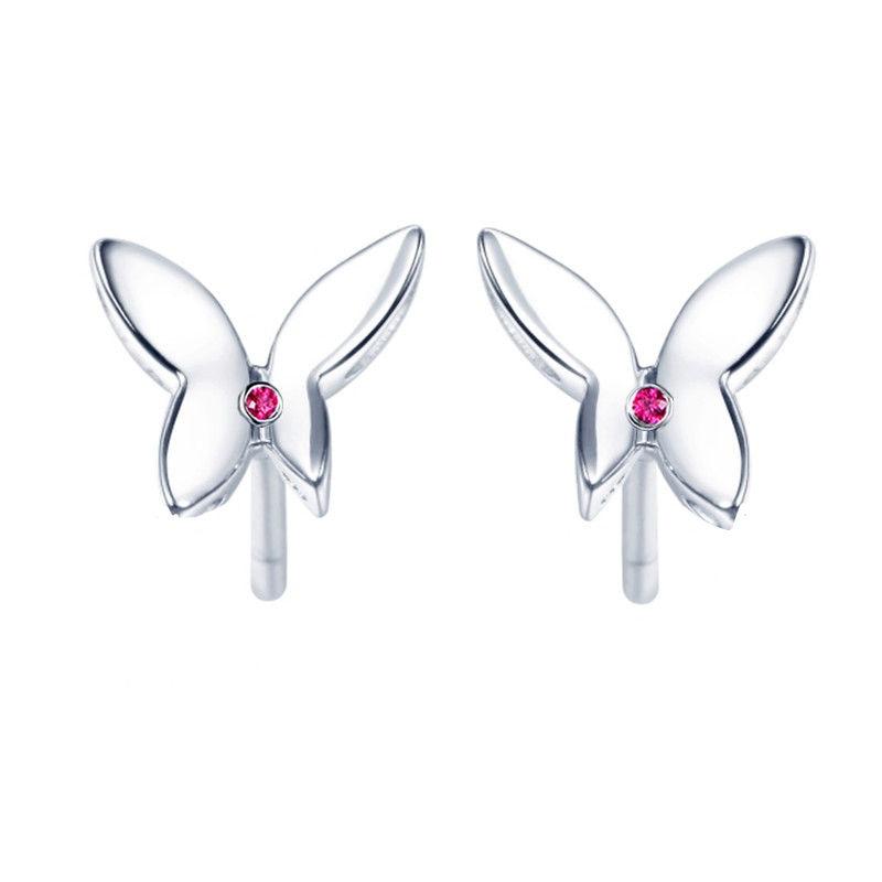 Solid 14k White Gold Stud Earrings Natural Ruby Women Earrings Butterfly Romantic Cute Fine Jewelry Party Birthday Gift faux ruby butterfly earrings