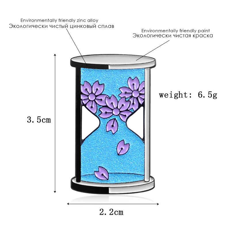 Baru Kartun Cherry Blossom Blue Hourglass Bros Jam Pasir Ungu Cherry Blossom Bersinar Lucu Bros Anak Kartun Menyenangkan Waktu Bac