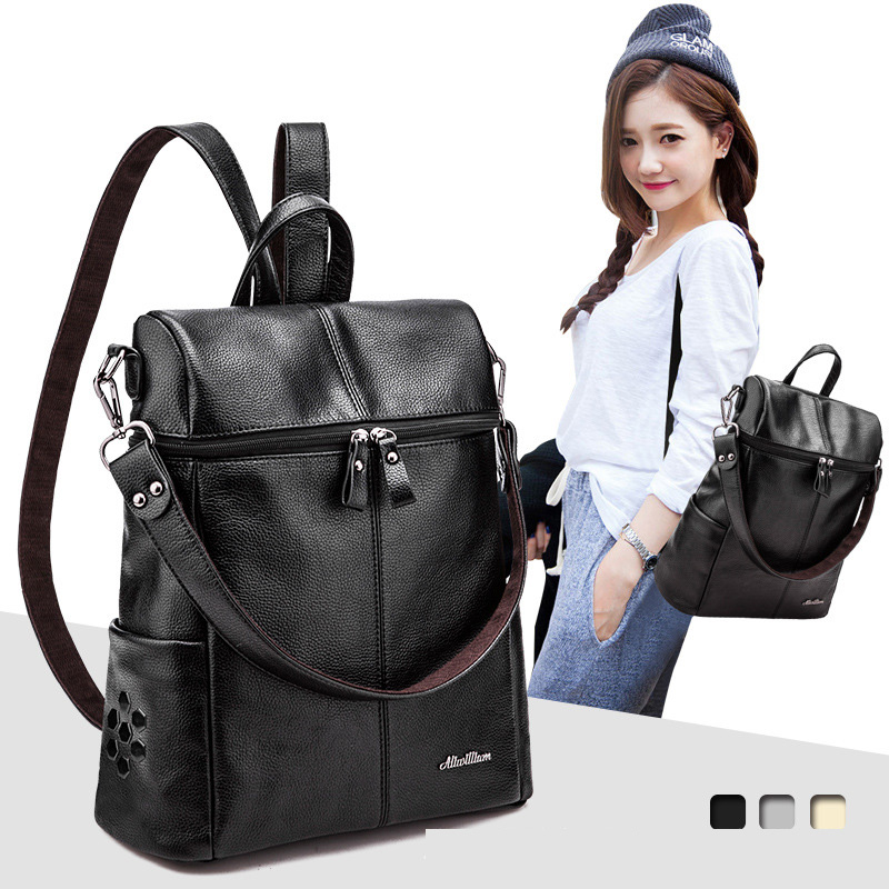 2017 New Fashion pu Leather Backpack Women Bags Preppy Style Backpack Girls School Bags Zipper Shoulder Women's Back Pack nawo fashion genuine leather backpack rivet women bags preppy style backpack girls school bags zipper large women s backpack sac