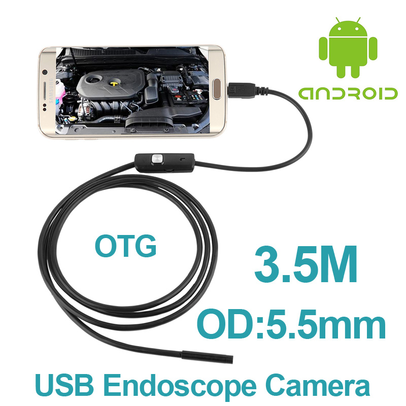 bilder für 10 teile/los Android Telefon OTG Inspektionskamera 3,5 Mt 5,5mm objektiv Endoskop inspektion Rohr IP67 Wasserdichte 720 P HD micro USB Kamera