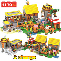 1170pcs My world Series Dream Village Building Blocks Compatible Legoingly Minecrafted Guard Mini Sets Figures Educational Toys