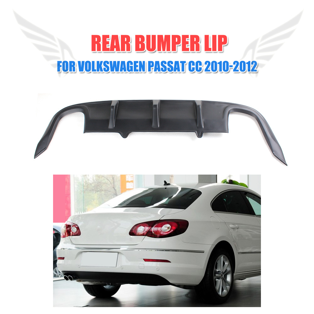 Matt Black Rear Lip Diffuser Spoiler Unpainted PP Fit For Volkswagon VW Passat CC Sedan 4 Door 2010 2011 2012 Car Styling pu rear wing spoiler for audi 2010 2011 2012 auto car boot lip wing spoiler unpainted grey primer