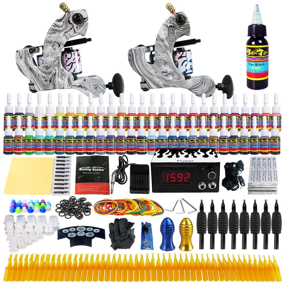 Professional Complete Tattoo Kit 2 Machine Guns 54 Color Inks Power Supply  TK220Professional Complete Tattoo Kit 2 Machine Guns 54 Color Inks Power Supply  TK220