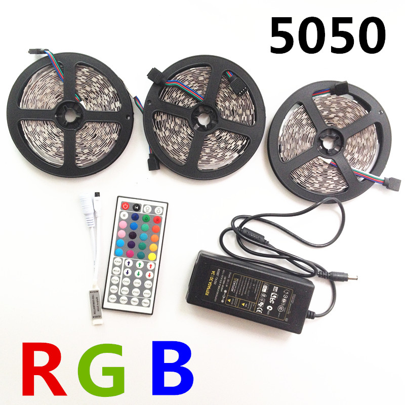 5m10m 15m RGB LED Strip light SMD 5050 30LEDs/M Flexible Non Waterproof led tape ribbon+44keys Remote Controller+ dc12V adapter