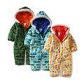 New 2016 outono inverno Romper do bebê para recém-nascidos do bebê menino roupas macacão crianças macacões de algodão à prova de vento com capuz casaco