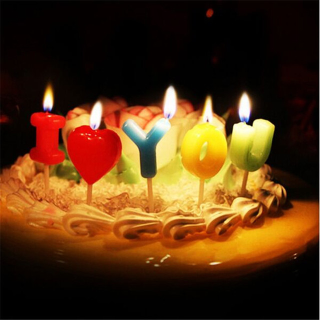 5PCS I Love You Letter Candle Wedding Cake Candles Topper Birthday Decorative Party Supplies