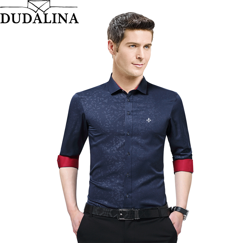 Dudalina Male 2017 Printing Embroidery Classic Business Men/'s Shirts Long Sleeve