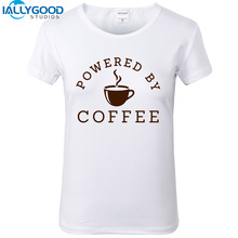 New Summer Women's Fashion Powered by coffee T Shirts Women Letter Printed T-Shirt short sleeves Soft Cotton White Tops S1478